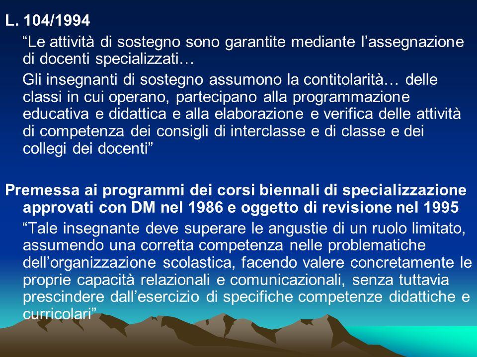 L. 104/1994 Le attività di sostegno sono garantite mediante l'assegnazione di docenti specializzati…