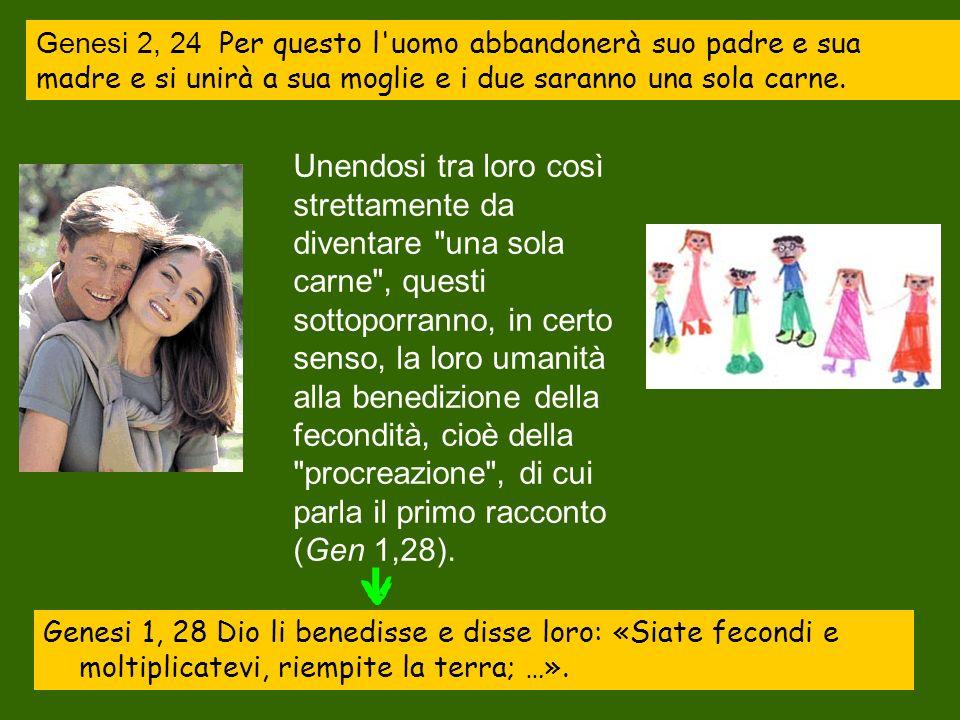 Genesi 2, 24 Per questo l uomo abbandonerà suo padre e sua madre e si unirà a sua moglie e i due saranno una sola carne.