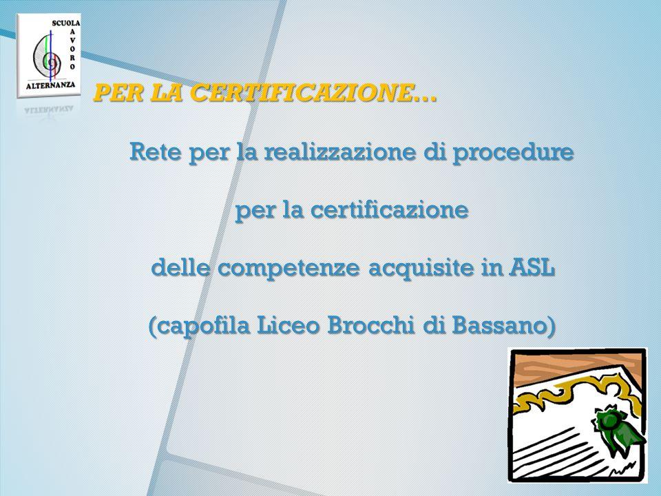 PER LA CERTIFICAZIONE… Rete per la realizzazione di procedure per la certificazione delle competenze acquisite in ASL (capofila Liceo Brocchi di Bassano)