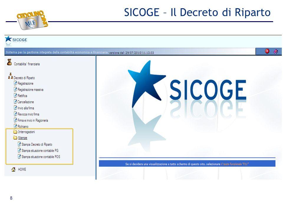 SICOGE – Il Decreto di Riparto