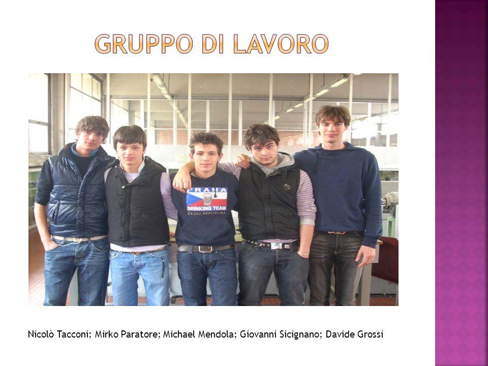 Gruppo di lavoro Nicolò Tacconi; Mirko Paratore; Michael Mendola; Giovanni Sicignano; Davide Grossi