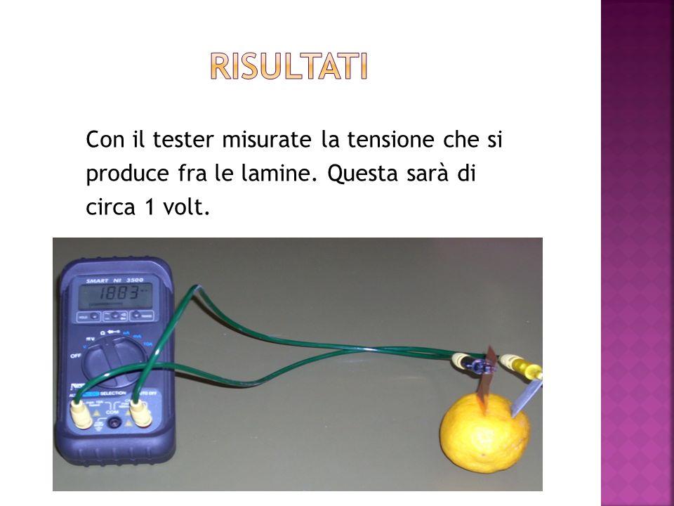 Risultati Con il tester misurate la tensione che si produce fra le lamine.