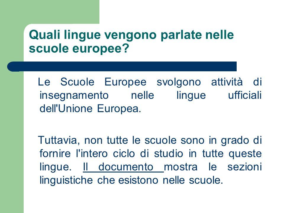 Quali lingue vengono parlate nelle scuole europee