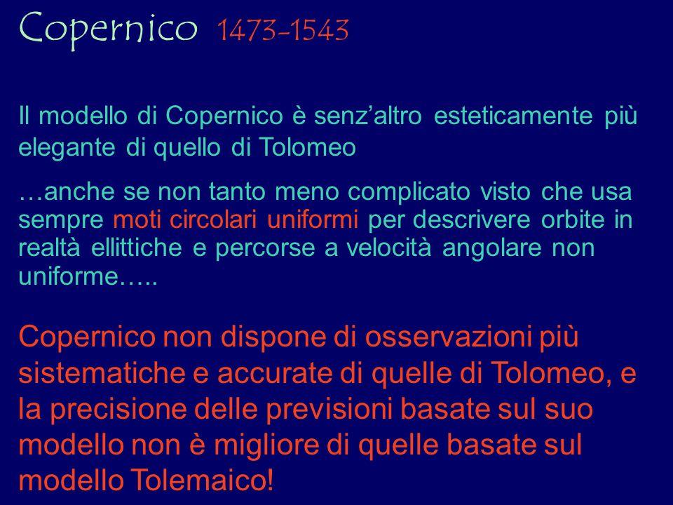 Copernico 1473-1543 Il modello di Copernico è senz'altro esteticamente più elegante di quello di Tolomeo.