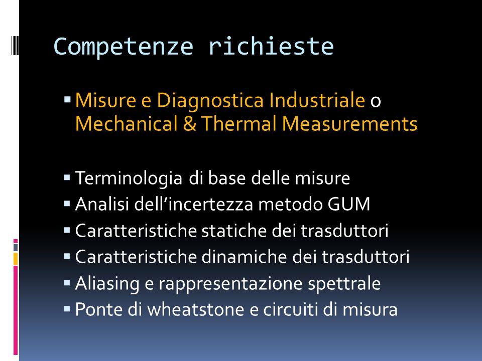 Competenze richiesteMisure e Diagnostica Industriale o Mechanical & Thermal Measurements. Terminologia di base delle misure.