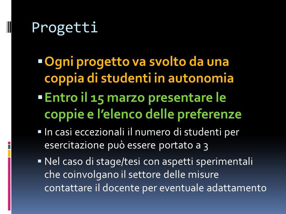 Progetti Ogni progetto va svolto da una coppia di studenti in autonomia. Entro il 15 marzo presentare le coppie e l'elenco delle preferenze.