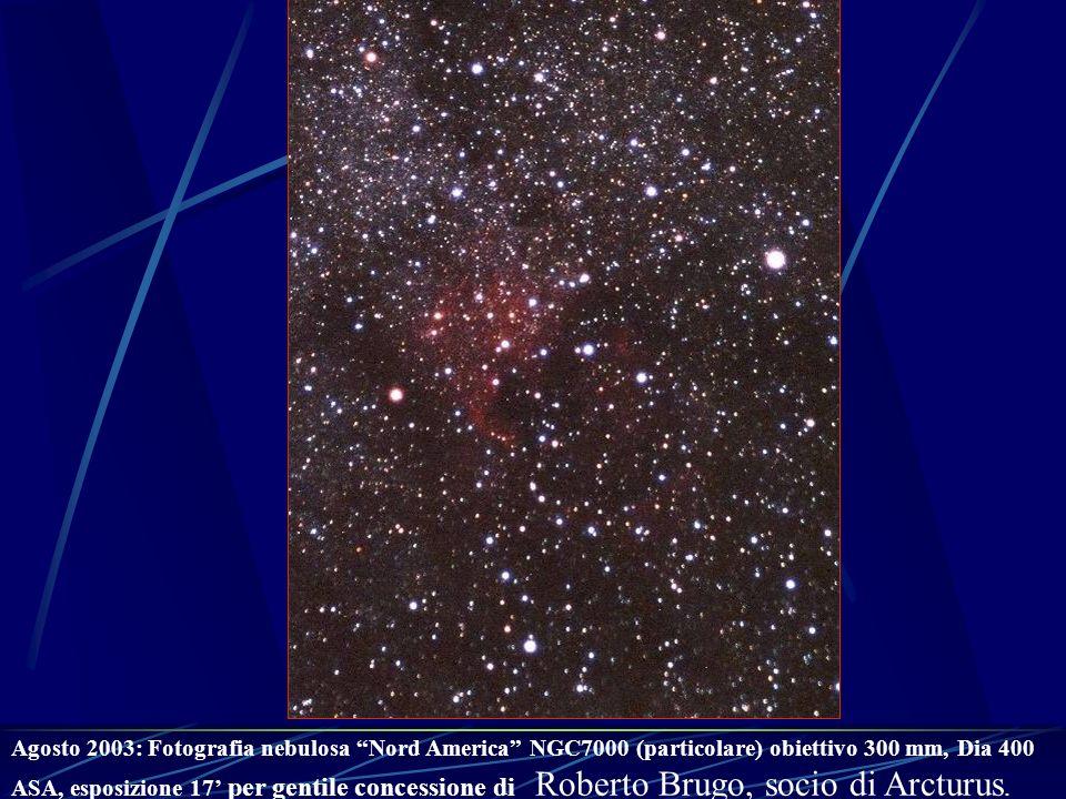 Agosto 2003: Fotografia nebulosa Nord America NGC7000 (particolare) obiettivo 300 mm, Dia 400 ASA, esposizione 17' per gentile concessione di Roberto Brugo, socio di Arcturus.