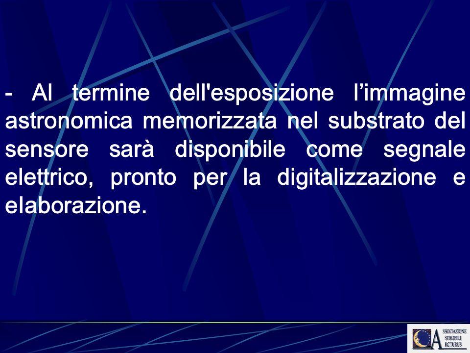 - Al termine dell esposizione l'immagine astronomica memorizzata nel substrato del sensore sarà disponibile come segnale elettrico, pronto per la digitalizzazione e elaborazione.