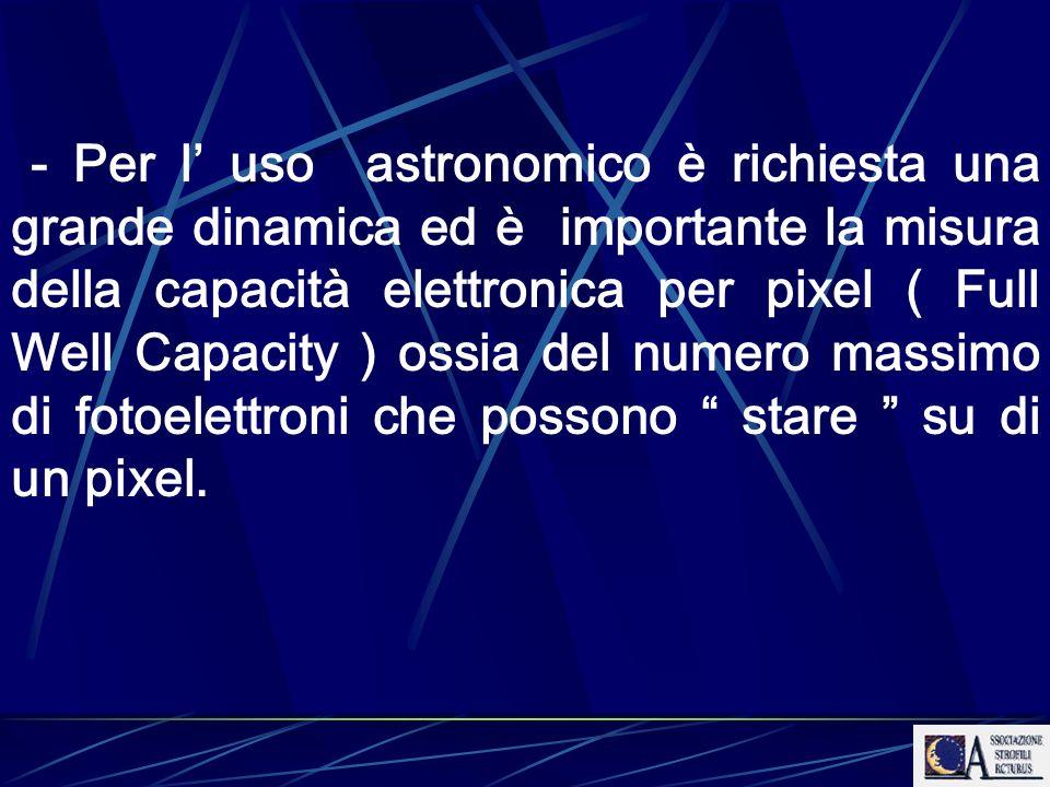 - Per l' uso astronomico è richiesta una grande dinamica ed è importante la misura della capacità elettronica per pixel ( Full Well Capacity ) ossia del numero massimo di fotoelettroni che possono stare su di un pixel.