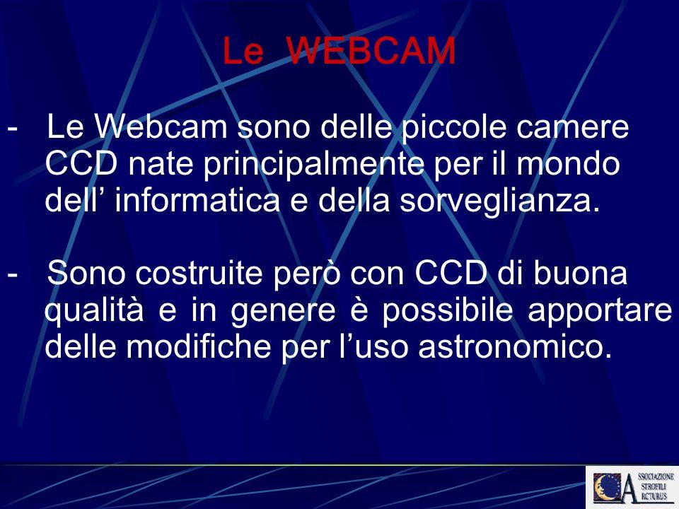 Le WEBCAM Le Webcam sono delle piccole camere