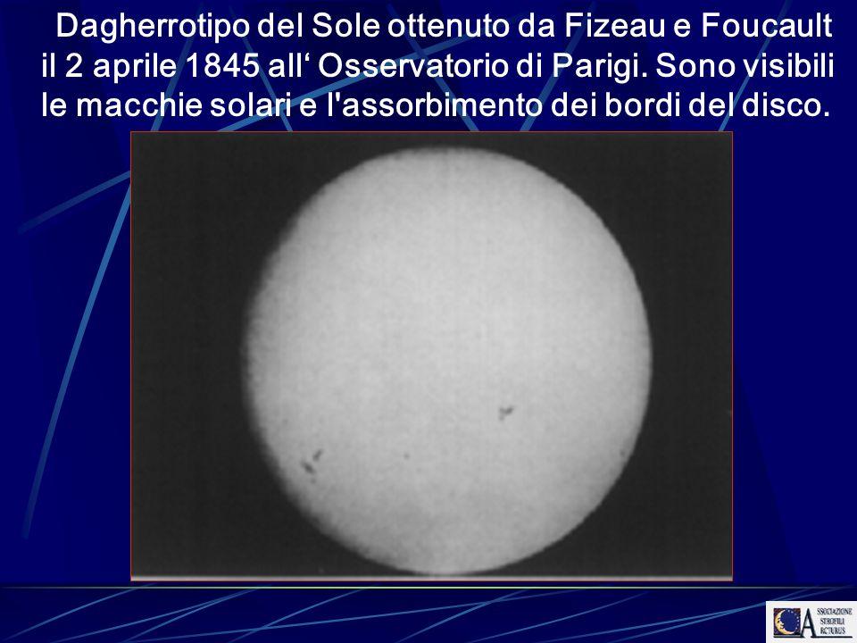 Dagherrotipo del Sole ottenuto da Fizeau e Foucault il 2 aprile 1845 all' Osservatorio di Parigi.