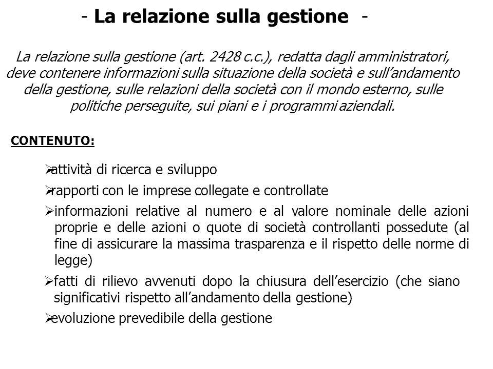 - La relazione sulla gestione -