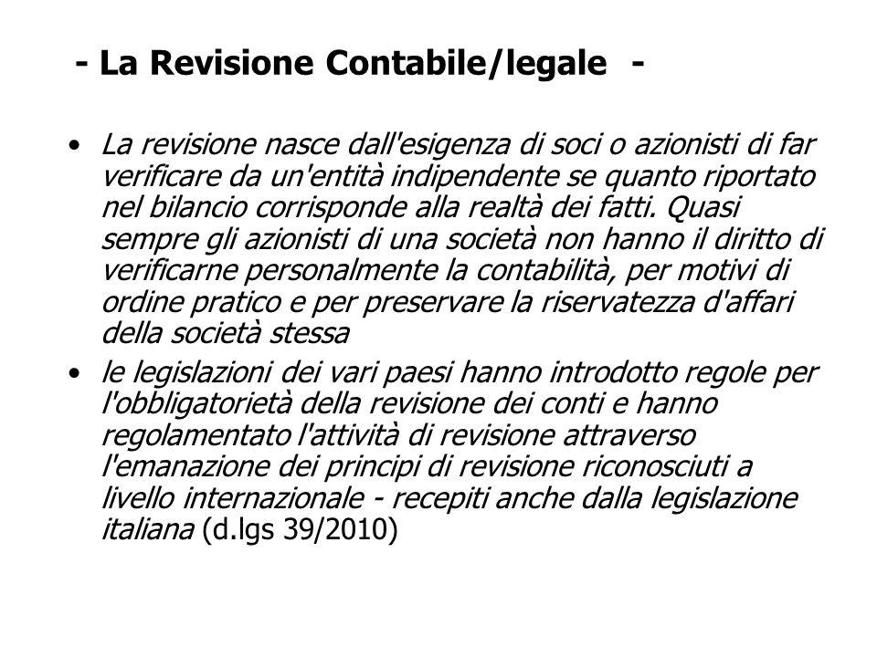 - La Revisione Contabile/legale -