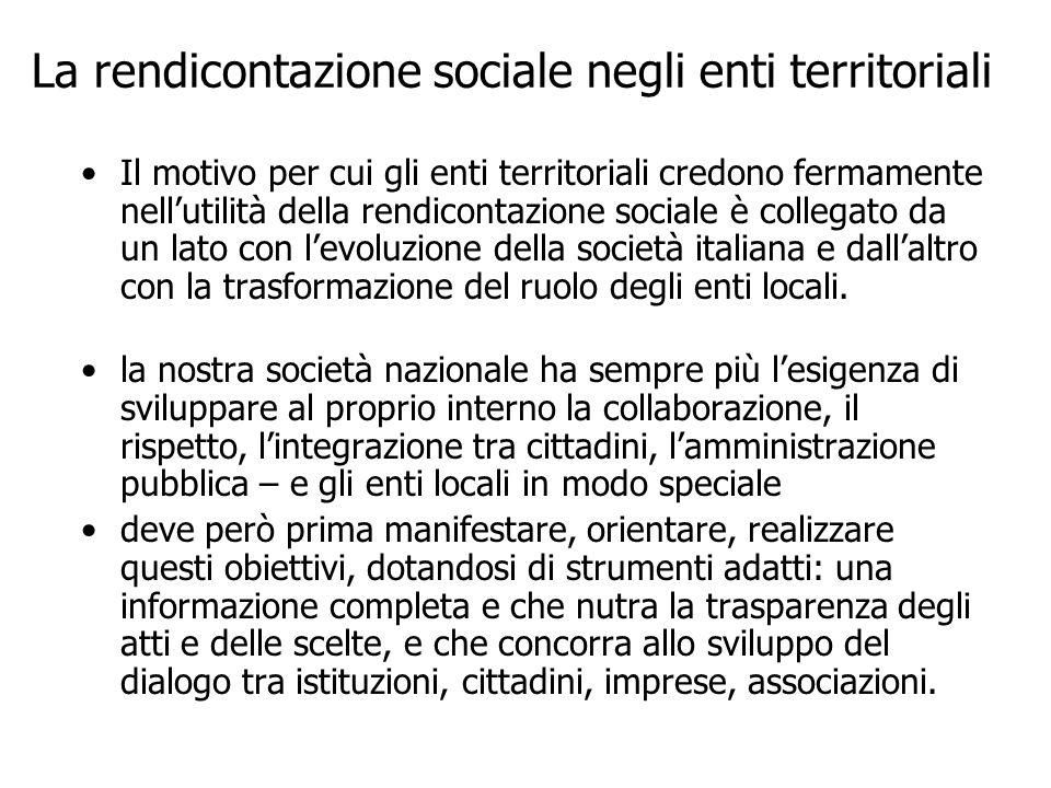 La rendicontazione sociale negli enti territoriali
