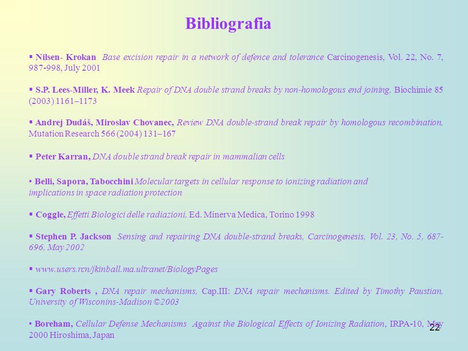 Bibliografia Nilsen- Krokan Base excision repair in a network of defence and tolerance Carcinogenesis, Vol. 22, No. 7, 987-998, July 2001.
