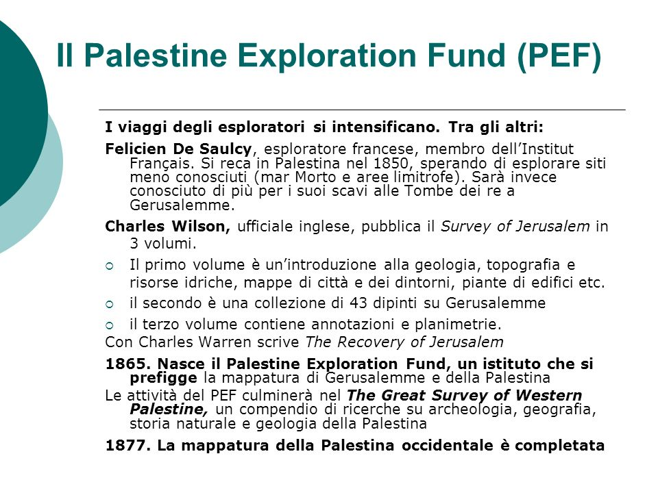 Il Palestine Exploration Fund (PEF)