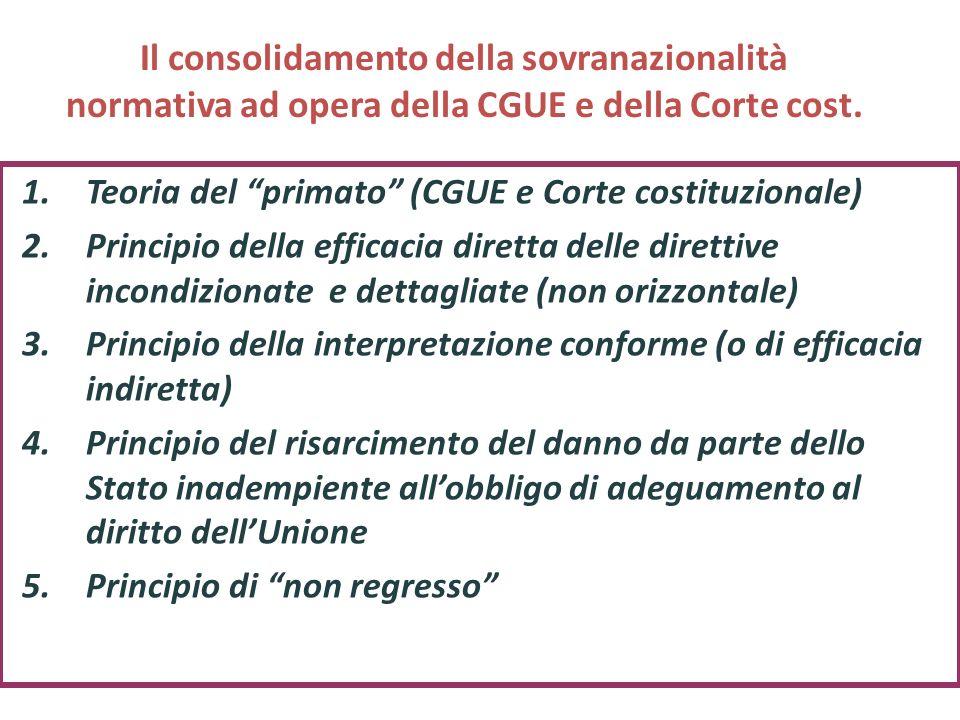 Il consolidamento della sovranazionalità normativa ad opera della CGUE e della Corte cost.