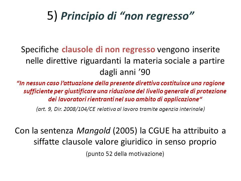 5) Principio di non regresso