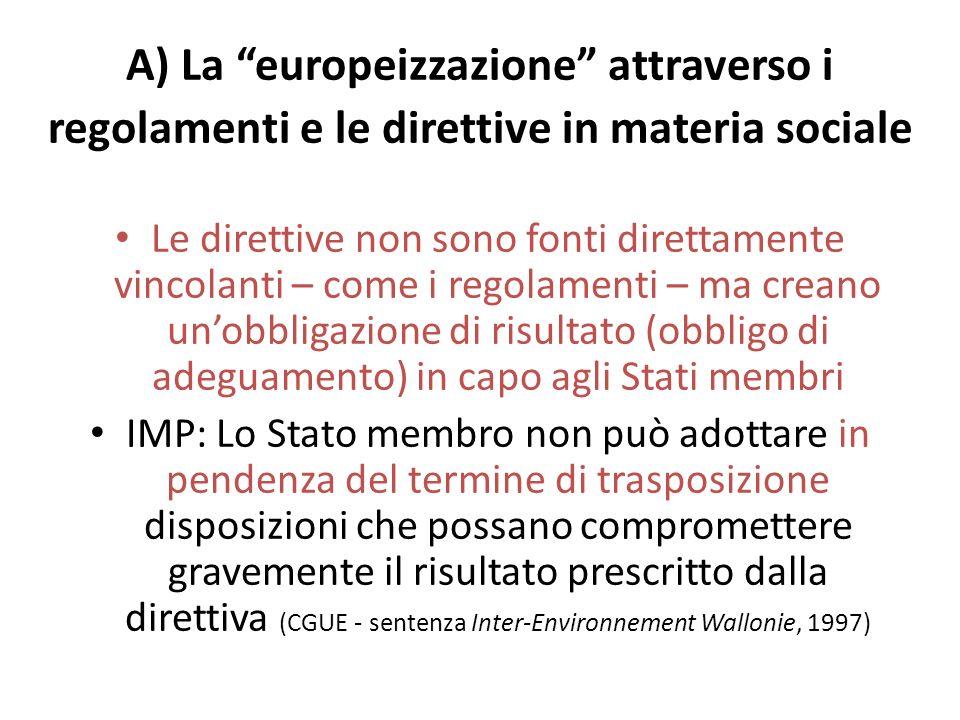 A) La europeizzazione attraverso i regolamenti e le direttive in materia sociale
