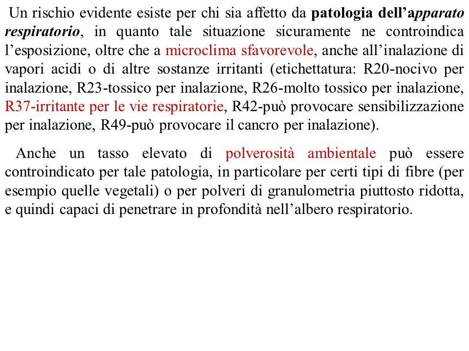 Un rischio evidente esiste per chi sia affetto da patologia dell'apparato respiratorio, in quanto tale situazione sicuramente ne controindica l'esposizione, oltre che a microclima sfavorevole, anche all'inalazione di vapori acidi o di altre sostanze irritanti (etichettatura: R20-nocivo per inalazione, R23-tossico per inalazione, R26-molto tossico per inalazione, R37-irritante per le vie respiratorie, R42-può provocare sensibilizzazione per inalazione, R49-può provocare il cancro per inalazione).