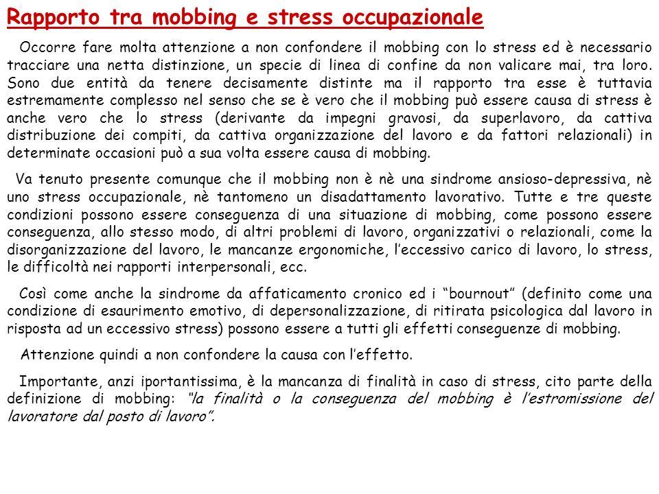 Rapporto tra mobbing e stress occupazionale