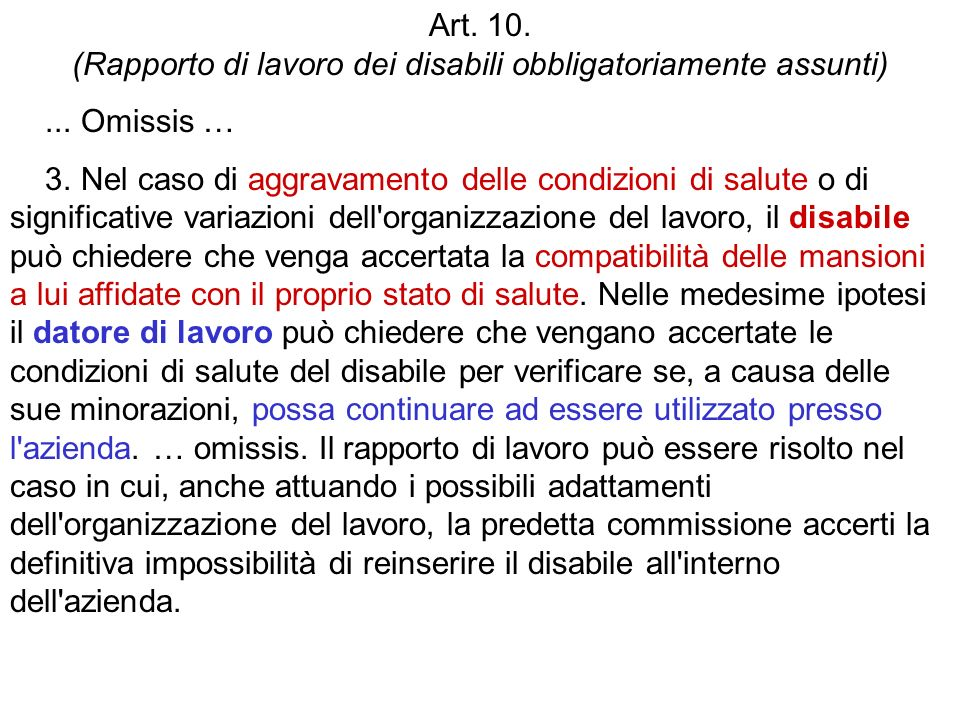 Art. 10. (Rapporto di lavoro dei disabili obbligatoriamente assunti)