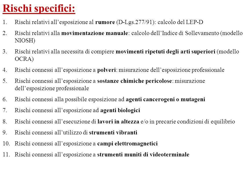 Rischi specifici: Rischi relativi all'esposizione al rumore (D-Lgs.277/91): calcolo del LEP-D.