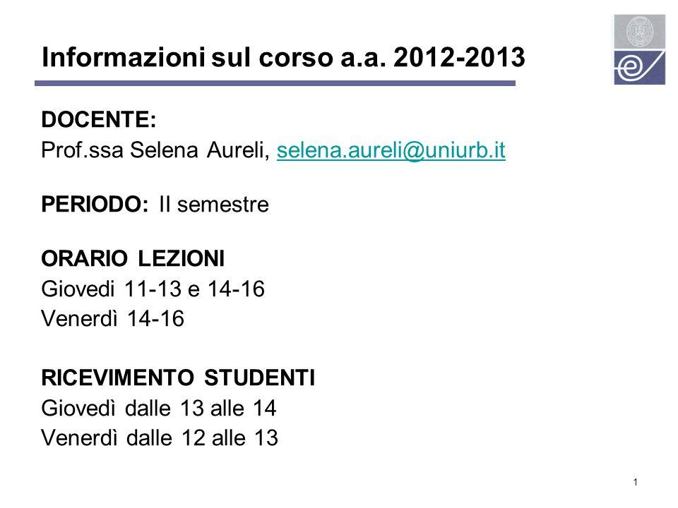 Informazioni sul corso a.a. 2012-2013