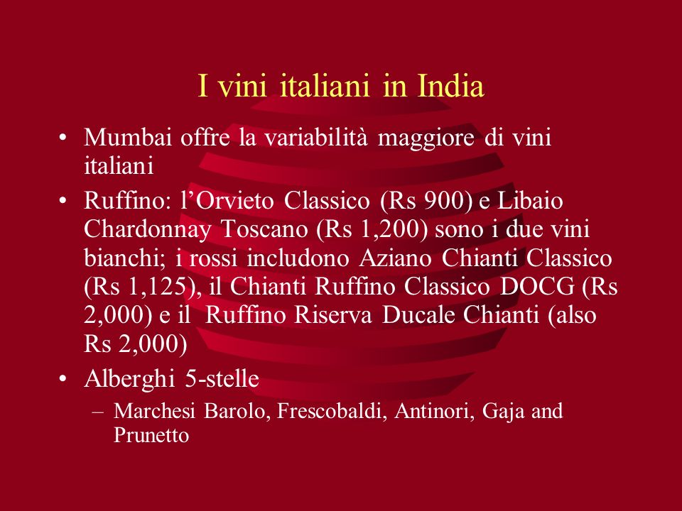 I vini italiani in India