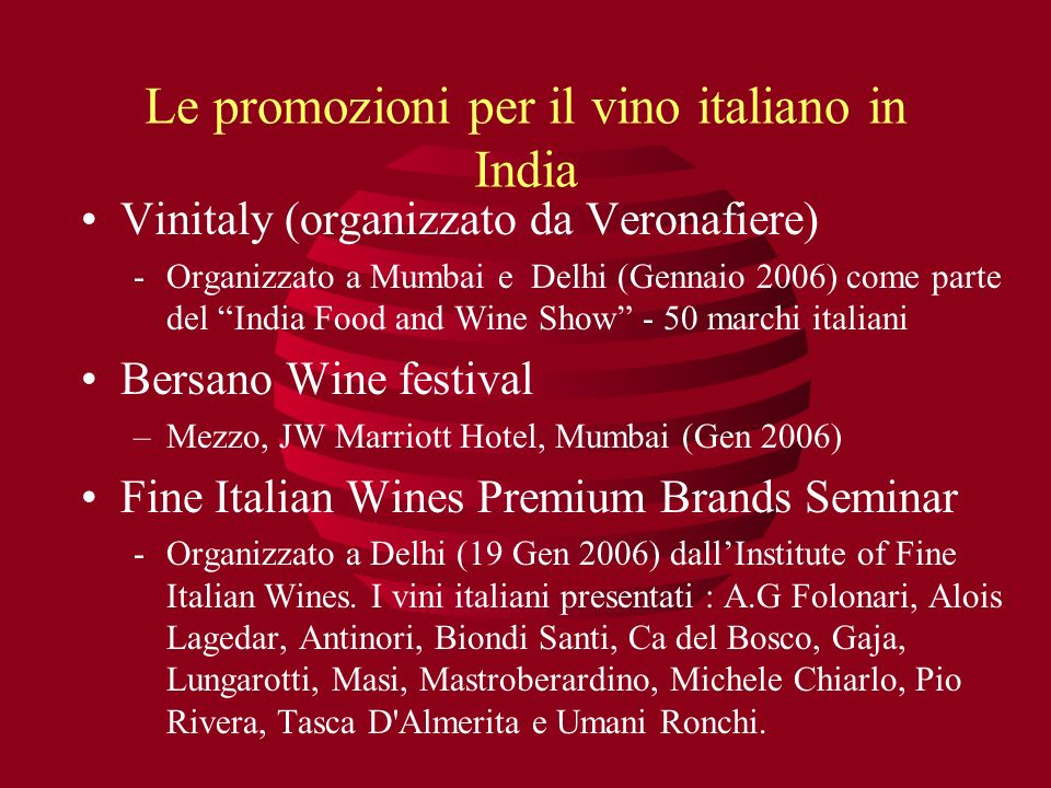 Le promozioni per il vino italiano in India