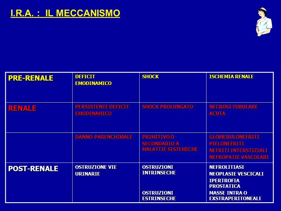 I.R.A. : IL MECCANISMO PRE-RENALE RENALE POST-RENALE DEFICIT
