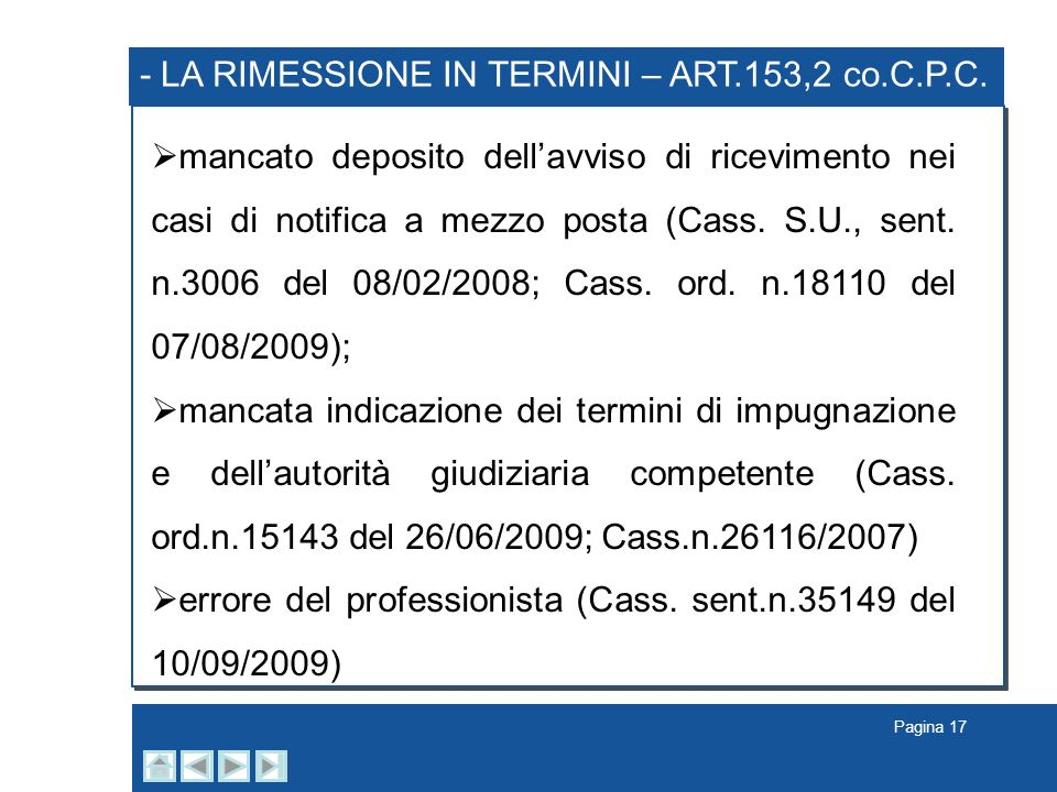- LA RIMESSIONE IN TERMINI – ART.153,2 co.C.P.C.