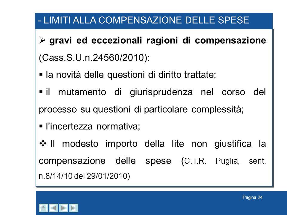 - LIMITI ALLA COMPENSAZIONE DELLE SPESE