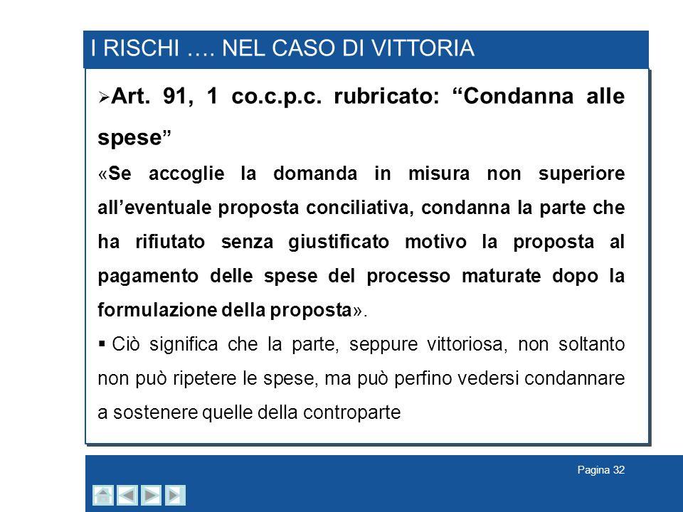 I RISCHI …. NEL CASO DI VITTORIA