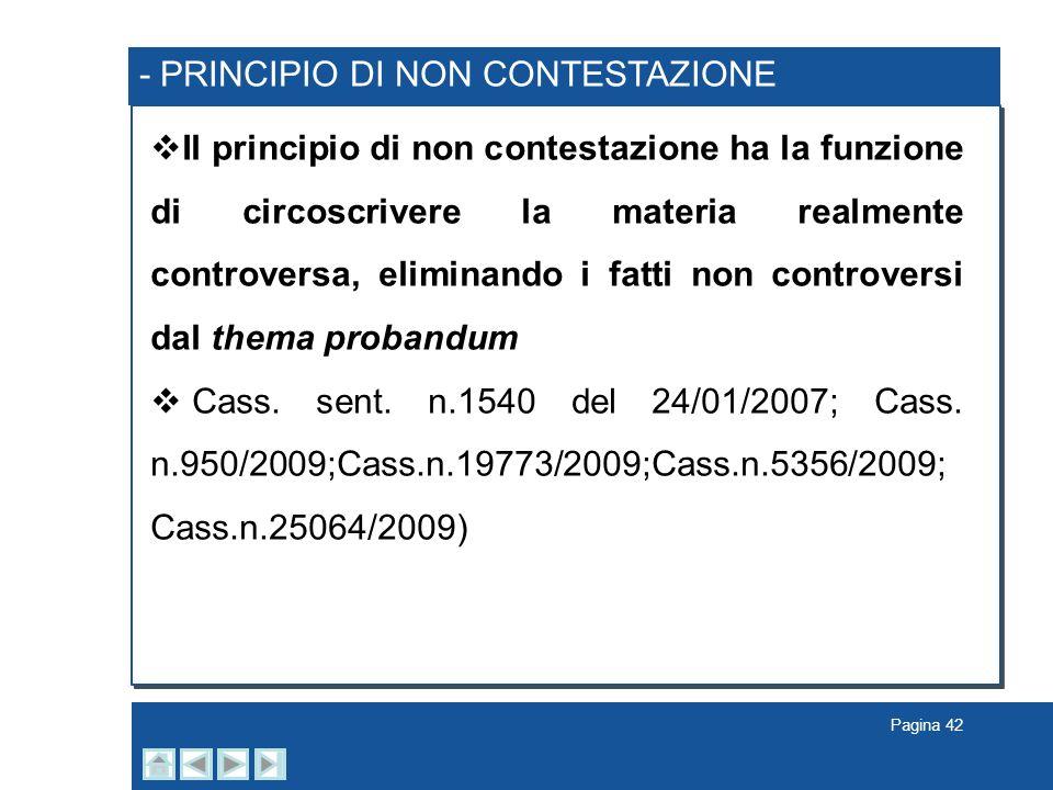 - PRINCIPIO DI NON CONTESTAZIONE