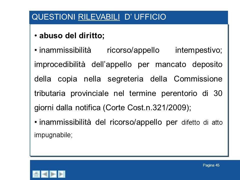QUESTIONI RILEVABILI D' UFFICIO