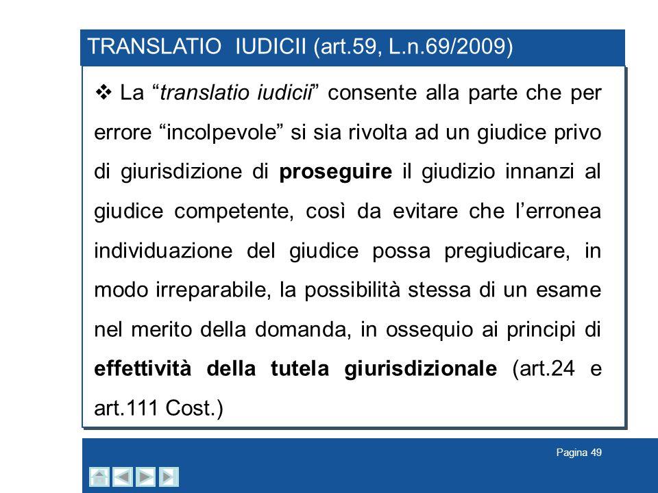 TRANSLATIO IUDICII (art.59, L.n.69/2009)