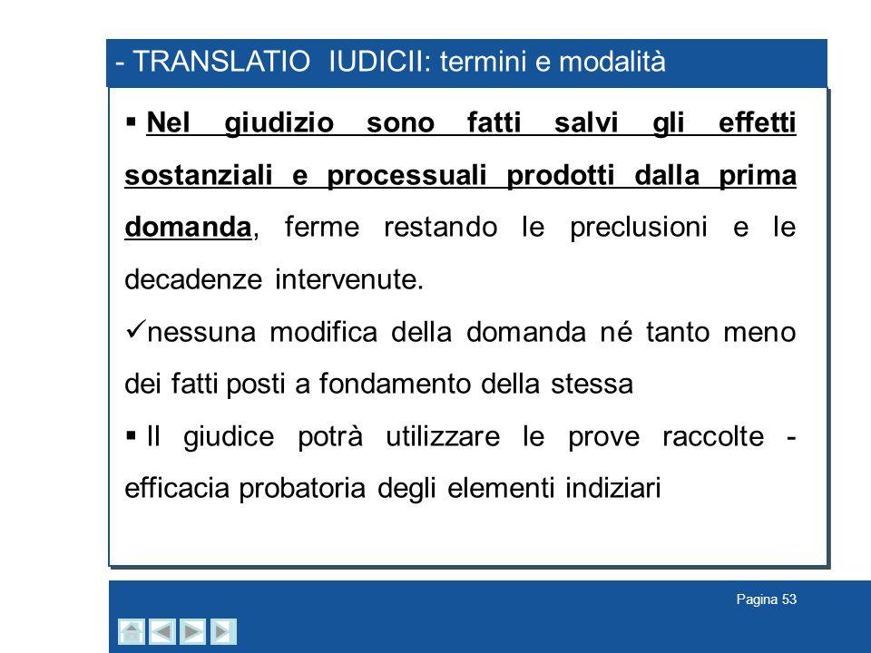 - TRANSLATIO IUDICII: termini e modalità