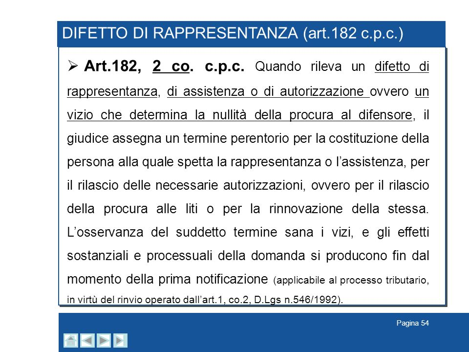 DIFETTO DI RAPPRESENTANZA (art.182 c.p.c.)