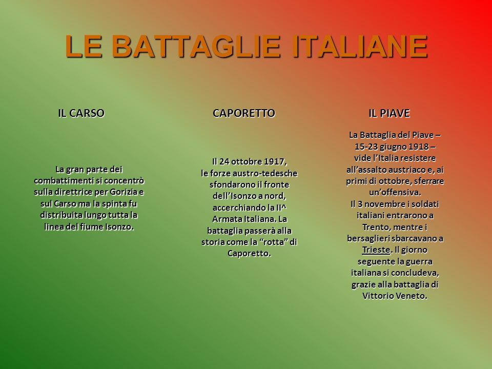 LE BATTAGLIE ITALIANE IL CARSO CAPORETTO IL PIAVE
