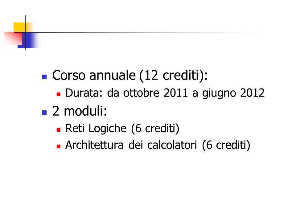 Corso annuale (12 crediti): 2 moduli:
