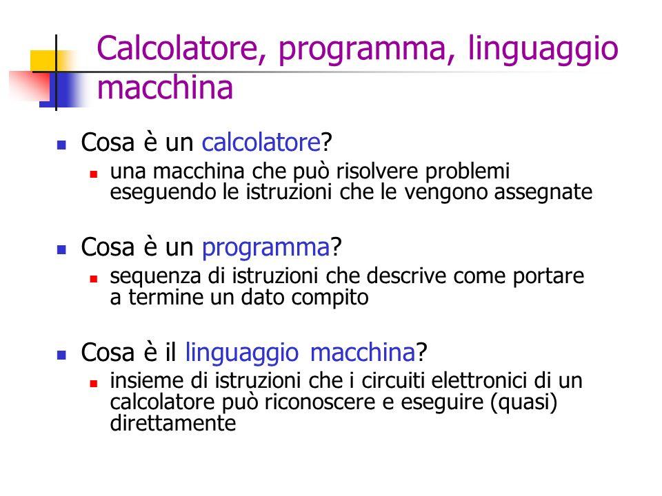 Calcolatore, programma, linguaggio macchina