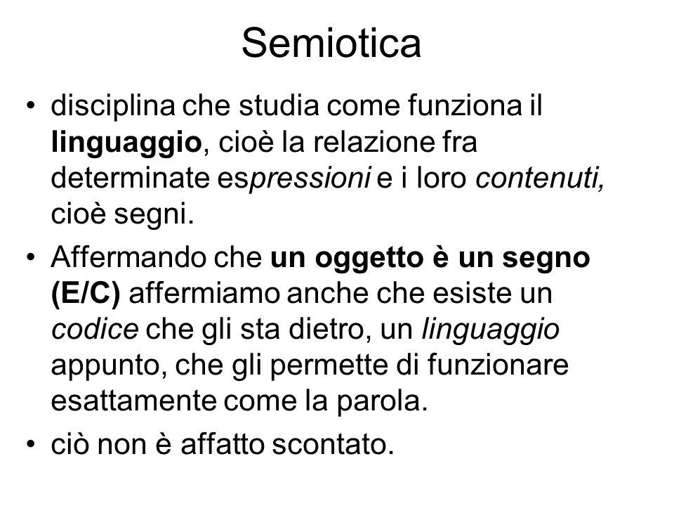 Semioticadisciplina che studia come funziona il linguaggio, cioè la relazione fra determinate espressioni e i loro contenuti, cioè segni.