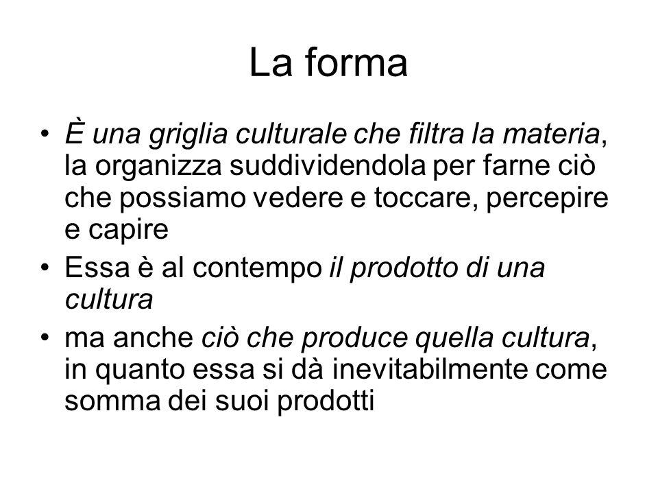La forma È una griglia culturale che filtra la materia, la organizza suddividendola per farne ciò che possiamo vedere e toccare, percepire e capire.