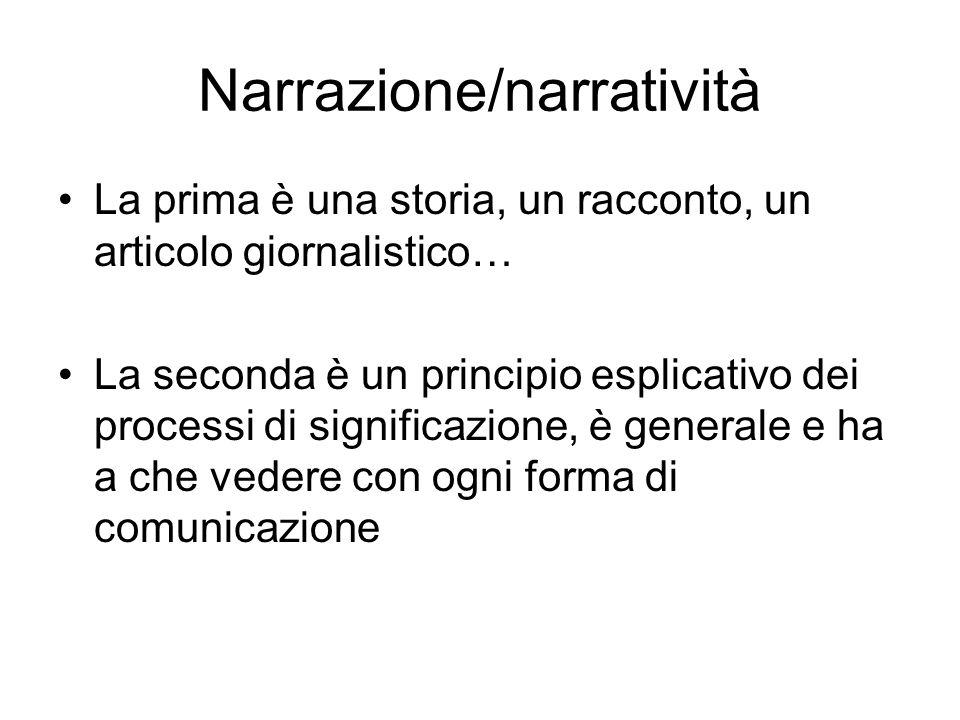 Narrazione/narratività