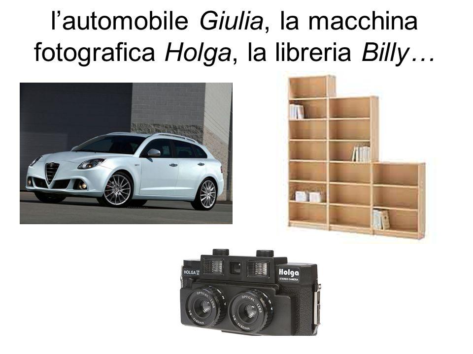 l'automobile Giulia, la macchina fotografica Holga, la libreria Billy…