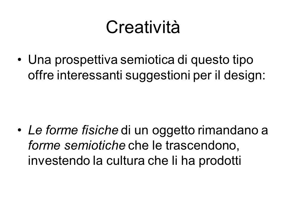 Creatività Una prospettiva semiotica di questo tipo offre interessanti suggestioni per il design: