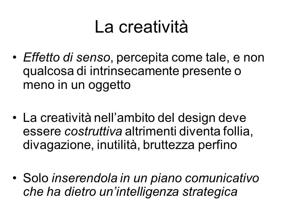 La creativitàEffetto di senso, percepita come tale, e non qualcosa di intrinsecamente presente o meno in un oggetto.