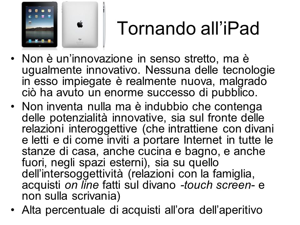 Tornando all'iPad
