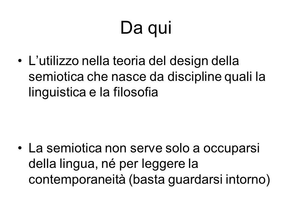 Da qui L'utilizzo nella teoria del design della semiotica che nasce da discipline quali la linguistica e la filosofia.
